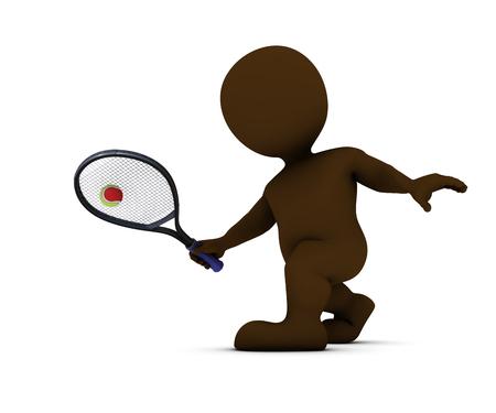 forehand: 3D Render of Morph Man Playing Tennis