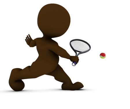 sports balls: 3D Render of Morph Man Playing Tennis