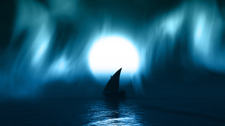 borealis: 3D render of a yacht on sea with aurelia borealis in the sky Stock Photo