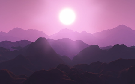 hues: 3D render of a mountain range in pink hues