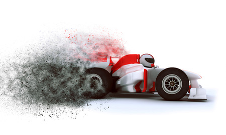 car speed: 3D render of a generic racing car with exploding speed effect Stock Photo