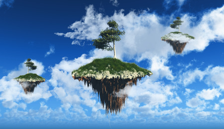 render: 3D render of floating islands in the sky