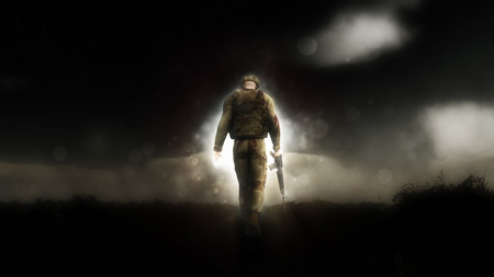 head down: Dramatic image of a 3D soldier walking down a path with his head down Stock Photo
