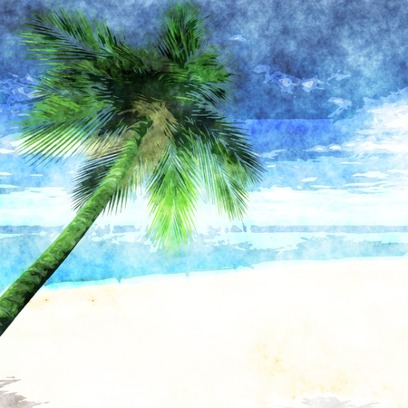 arty: Palm tree on beach in painted watercolor