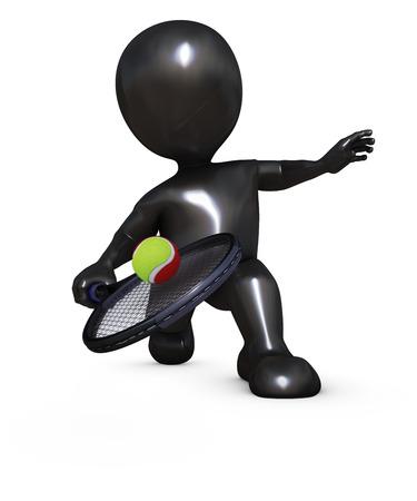 render: 3D Render of Morph Man Playing Tennis