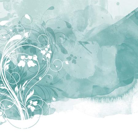 watercolour: Decorative floral design on a watercolour background