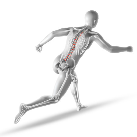 render: 3D render of a male medical figure running with spine discs highlighted Stock Photo