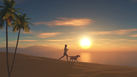 woman sunset: 3D render of a female jogging on a beach at sunset with her dog