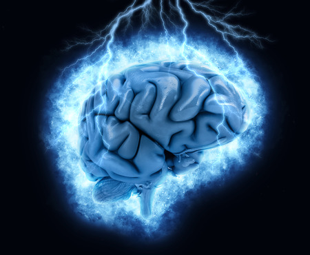brainy: 3D render of a brain with exploding lightening effect Stock Photo
