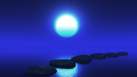 3D render of stepping stones in the ocean against a night sky
