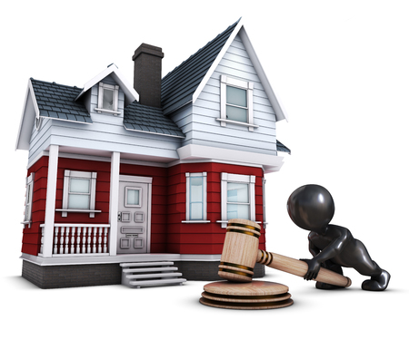 auctioneer: 3D Render of Morph Man with house and gavel