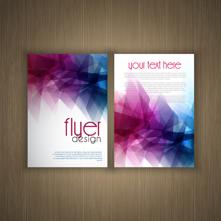 web template: Abstract flier design on a  wood background
