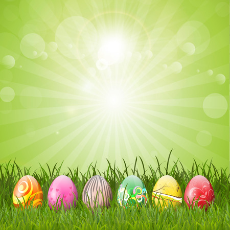 osterei: Decorative Easter eggs in a grassy landscape