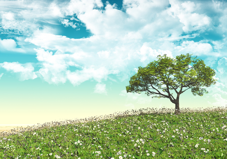 tree grass: 3D landscape with tree in daisy and grass field Stock Photo