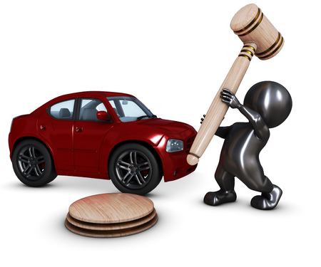 bidding: 3D Render of Morph Man with car and gavel