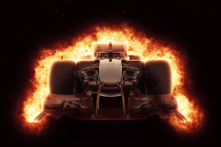 3D render of a race car with fiery explosion effect