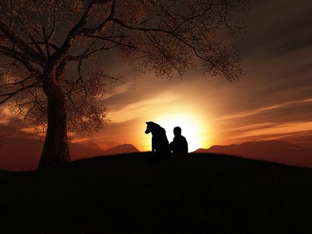 silueta humana: 3D render de un ni�o y su perro sentado en una colina al atardecer