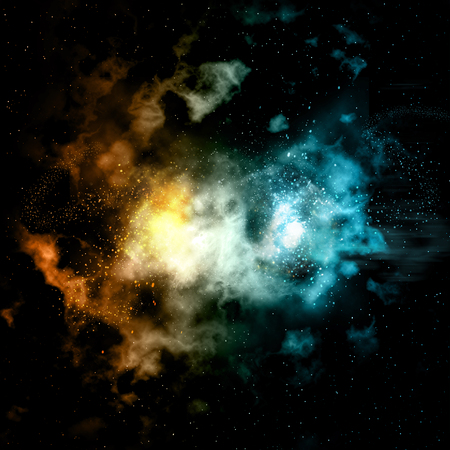 colourful fire: Space background with colourful nebula and fire and ice effect