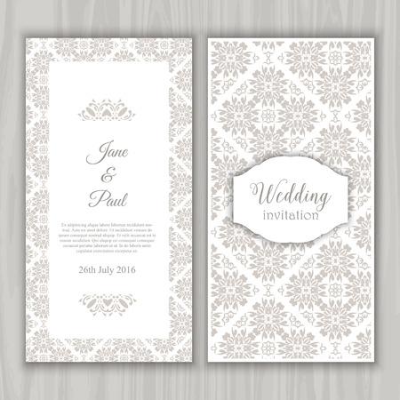 El diseño decorativo de una invitación de boda Foto de archivo