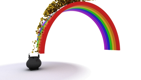 end of rainbow: 3d render of pot of gold at the end of the rainbow