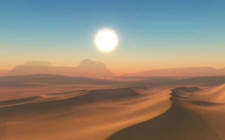 sand dune: 3D render of an arid desert scene