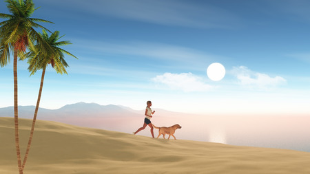 female animal: 3D render of a female jogging on the beach with her dog