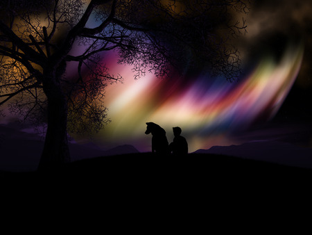 3D render of a silhouetted boy and his dog watching the northern lights Stock Photo