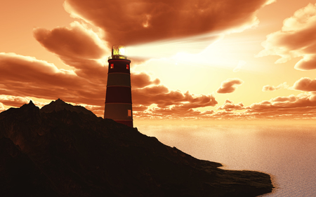 lighthouse beam: 3D render of a lighthouse with beam against a sunset sky