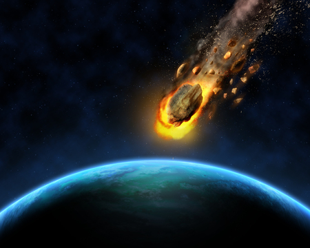 3D render of a space scene background with rocks hurtling towards a fictional planet