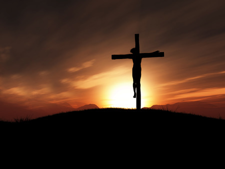 the christian religion: 3D render of jesus on the cross at sunset
