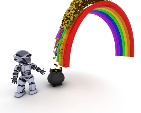 end of rainbow: 3d render of robot with pot of gold at the end of the rainbow