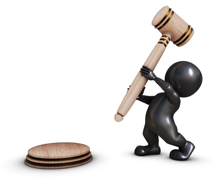 auctioneer: 3D Render of Morph Man with gavel Stock Photo