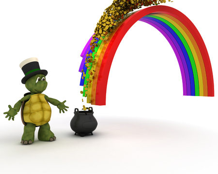 end of rainbow: 3d render of turtle with pot of gold at the end of the rainbow Stock Photo