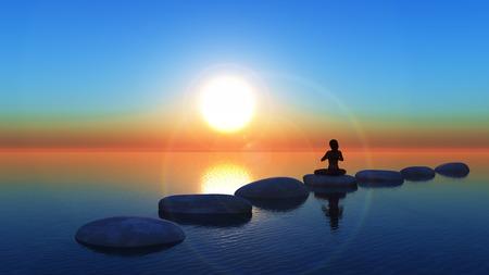 3D render van een vrouw in een yoga stelt op stapstenen in de oceaan bij zonsondergang