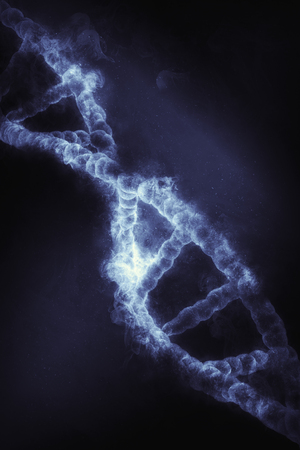 microcosmic: 3D render of a DNA strand with a smoke effect