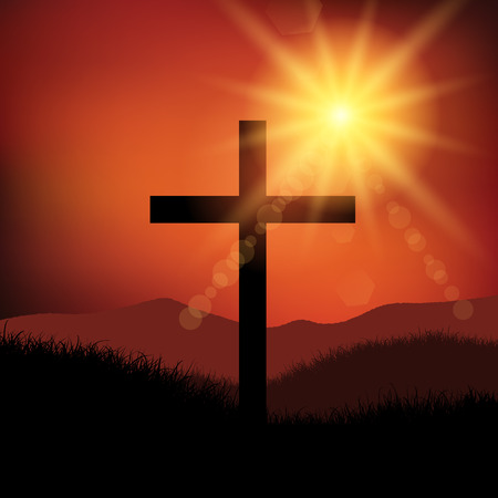easter cross: Good Friday Easter landscape with cross Stock Photo
