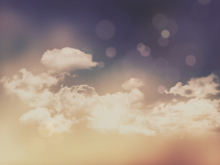 sunshine: Clouds and sky background with vintage retro effect