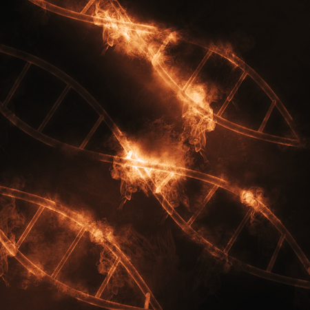 microcosmic: 3D render of DNA strands with smoke and fire effect Stock Photo