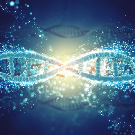 raytrace: 3D medical background with DNA strands