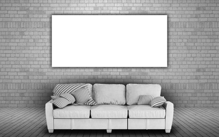 blank canvas: 3d render of a white sofa against a brick wall with a blank canvas