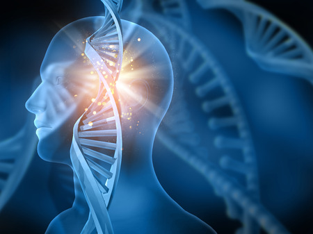 3D medical background with DNA strands and male head Banque d'images