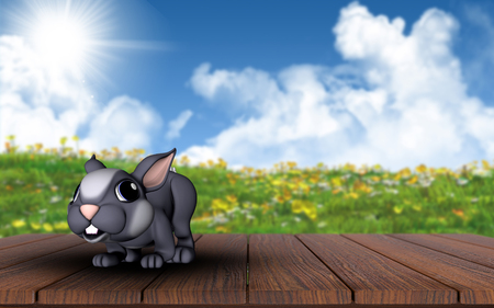 buttercups: 3D render of a cute Easter bunny on a wooden deck against a landscape with buttercups and daisies