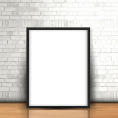 modern frame: Blank picture leaning against a white brick wall