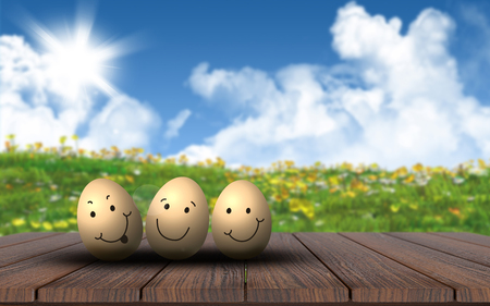buttercups: 3D render of cute Easter eggs on a wooden deck against a landscape with buttercups and daisies