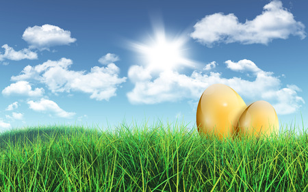 grassy: 3D render of a grassy landscape with golden Easter eggs against a blue sky with fluffy white clouds Stock Photo