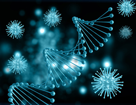 microcosmic: 3D render of a medical background with DNA strands and virus cells Stock Photo