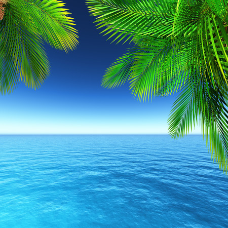 yacht: 3D render of a tropical landscape with palm trees and ocean Stock Photo