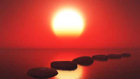 3D render of stepping stones in the ocean against a sunset sky
