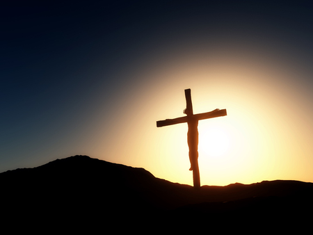 good friday: 3D render of a Good Friday landscape with Jesus on the cross Stock Photo