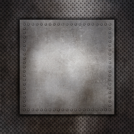 rivets: Metallic texture background with rivets and metal plate